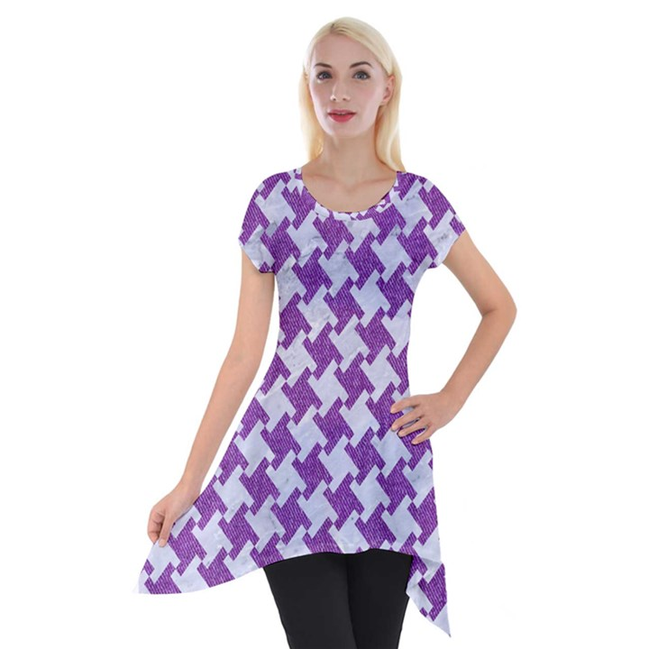 HOUNDSTOOTH2 WHITE MARBLE & PURPLE DENIM Short Sleeve Side Drop Tunic