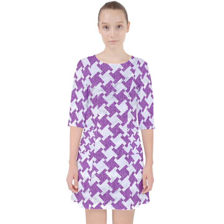HOUNDSTOOTH2 WHITE MARBLE & PURPLE DENIM Pocket Dress