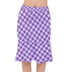 Houndstooth2 White Marble & Purple Denim Mermaid Skirt