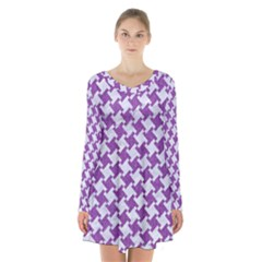 Houndstooth2 White Marble & Purple Denim Long Sleeve Velvet V Neck Dress by trendistuff