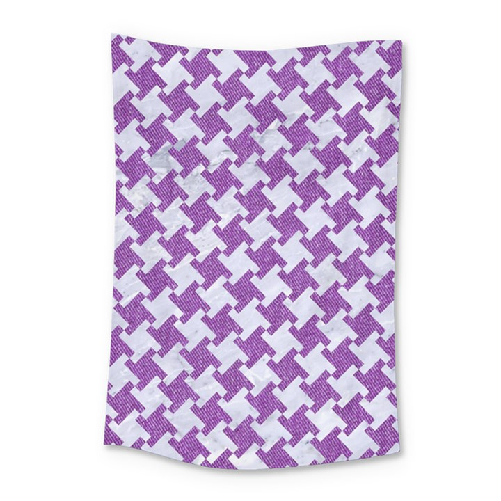 HOUNDSTOOTH2 WHITE MARBLE & PURPLE DENIM Small Tapestry