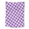 HOUNDSTOOTH2 WHITE MARBLE & PURPLE DENIM Medium Tapestry View1