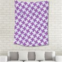 HOUNDSTOOTH2 WHITE MARBLE & PURPLE DENIM Medium Tapestry View2