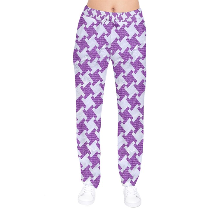 HOUNDSTOOTH2 WHITE MARBLE & PURPLE DENIM Velvet Drawstring Pants
