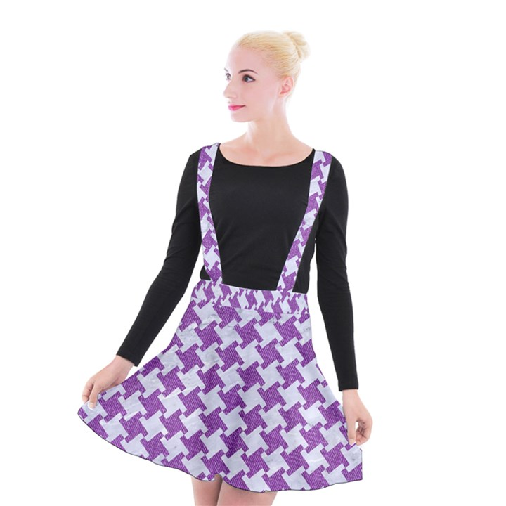 HOUNDSTOOTH2 WHITE MARBLE & PURPLE DENIM Suspender Skater Skirt