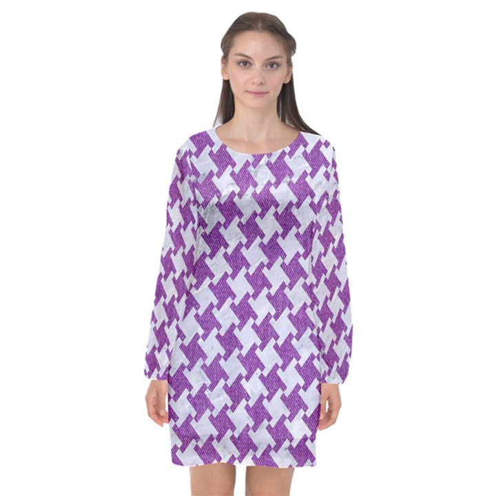 HOUNDSTOOTH2 WHITE MARBLE & PURPLE DENIM Long Sleeve Chiffon Shift Dress