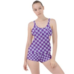 Houndstooth2 White Marble & Purple Denim Boyleg Tankini Set  by trendistuff