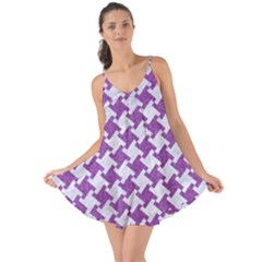Houndstooth2 White Marble & Purple Denim Love The Sun Cover Up