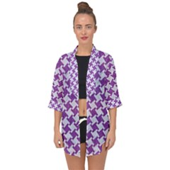 Houndstooth2 White Marble & Purple Denim Open Front Chiffon Kimono by trendistuff
