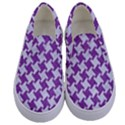 HOUNDSTOOTH2 WHITE MARBLE & PURPLE DENIM Kids  Canvas Slip Ons View1