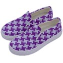 HOUNDSTOOTH2 WHITE MARBLE & PURPLE DENIM Kids  Canvas Slip Ons View2