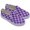 HOUNDSTOOTH2 WHITE MARBLE & PURPLE DENIM Kids  Canvas Slip Ons View3