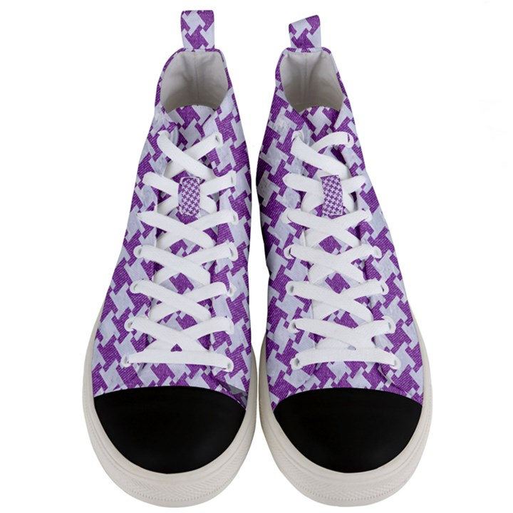 HOUNDSTOOTH2 WHITE MARBLE & PURPLE DENIM Men s Mid-Top Canvas Sneakers
