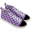 HOUNDSTOOTH2 WHITE MARBLE & PURPLE DENIM Men s Mid-Top Canvas Sneakers View3
