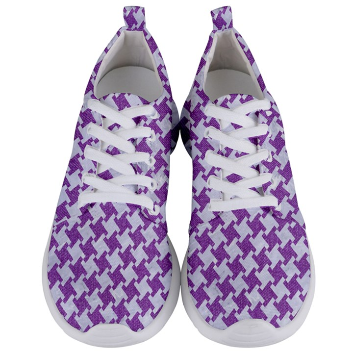 HOUNDSTOOTH2 WHITE MARBLE & PURPLE DENIM Men s Lightweight Sports Shoes