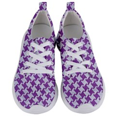 Houndstooth2 White Marble & Purple Denim Women s Lightweight Sports Shoes