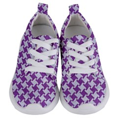 Houndstooth2 White Marble & Purple Denim Kids  Lightweight Sports Shoes
