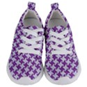 HOUNDSTOOTH2 WHITE MARBLE & PURPLE DENIM Kids  Lightweight Sports Shoes View1