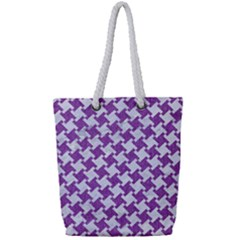 Houndstooth2 White Marble & Purple Denim Full Print Rope Handle Tote (small) by trendistuff