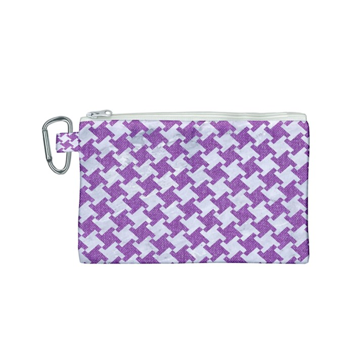 HOUNDSTOOTH2 WHITE MARBLE & PURPLE DENIM Canvas Cosmetic Bag (Small)