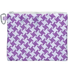 Houndstooth2 White Marble & Purple Denim Canvas Cosmetic Bag (xxxl)