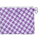 HOUNDSTOOTH2 WHITE MARBLE & PURPLE DENIM Canvas Cosmetic Bag (XXXL) View2