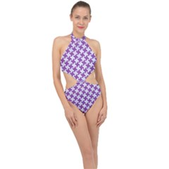Houndstooth2 White Marble & Purple Denim Halter Side Cut Swimsuit