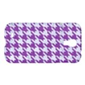 HOUNDSTOOTH1 WHITE MARBLE & PURPLE DENIM Samsung Galaxy S4 I9500/I9505 Hardshell Case View1