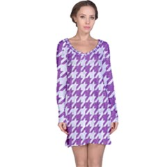 Houndstooth1 White Marble & Purple Denim Long Sleeve Nightdress