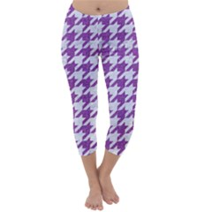 Houndstooth1 White Marble & Purple Denim Capri Winter Leggings