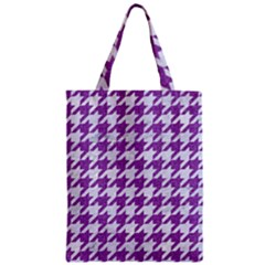 Houndstooth1 White Marble & Purple Denim Zipper Classic Tote Bag
