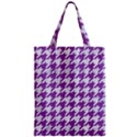 HOUNDSTOOTH1 WHITE MARBLE & PURPLE DENIM Zipper Classic Tote Bag View1