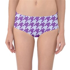 Houndstooth1 White Marble & Purple Denim Mid Waist Bikini Bottoms