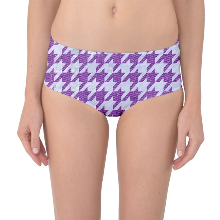 HOUNDSTOOTH1 WHITE MARBLE & PURPLE DENIM Mid-Waist Bikini Bottoms
