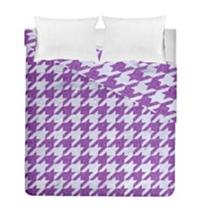 Houndstooth1 White Marble & Purple Denim Duvet Cover Double Side (full/ Double Size)