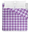 HOUNDSTOOTH1 WHITE MARBLE & PURPLE DENIM Duvet Cover Double Side (Queen Size) View1