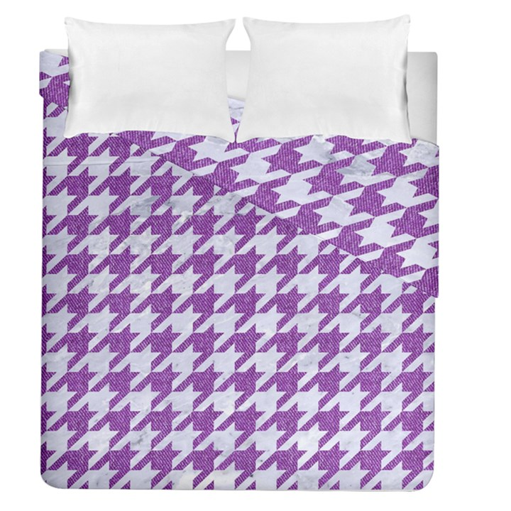 HOUNDSTOOTH1 WHITE MARBLE & PURPLE DENIM Duvet Cover Double Side (Queen Size)