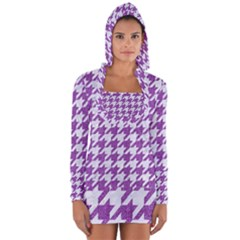 Houndstooth1 White Marble & Purple Denim Long Sleeve Hooded T Shirt by trendistuff