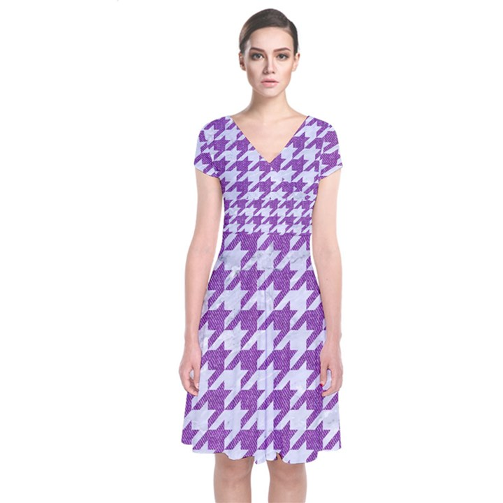 HOUNDSTOOTH1 WHITE MARBLE & PURPLE DENIM Short Sleeve Front Wrap Dress
