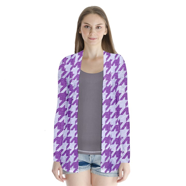 HOUNDSTOOTH1 WHITE MARBLE & PURPLE DENIM Drape Collar Cardigan