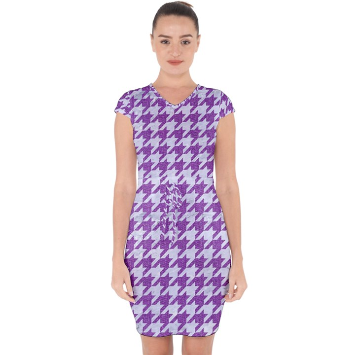 HOUNDSTOOTH1 WHITE MARBLE & PURPLE DENIM Capsleeve Drawstring Dress