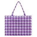 HOUNDSTOOTH1 WHITE MARBLE & PURPLE DENIM Medium Tote Bag View1