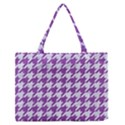 HOUNDSTOOTH1 WHITE MARBLE & PURPLE DENIM Zipper Medium Tote Bag View1