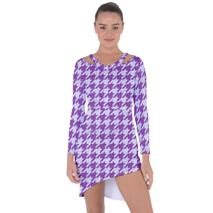 HOUNDSTOOTH1 WHITE MARBLE & PURPLE DENIM Asymmetric Cut-Out Shift Dress
