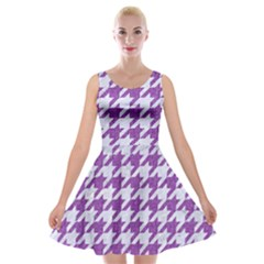 Houndstooth1 White Marble & Purple Denim Velvet Skater Dress