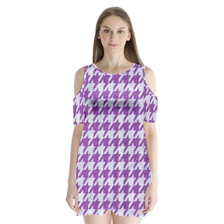 HOUNDSTOOTH1 WHITE MARBLE & PURPLE DENIM Shoulder Cutout Velvet One Piece