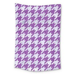 Houndstooth1 White Marble & Purple Denim Large Tapestry