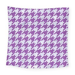 Houndstooth1 White Marble & Purple Denim Square Tapestry (large) by trendistuff
