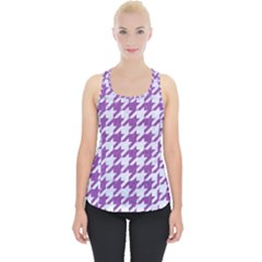 Houndstooth1 White Marble & Purple Denim Piece Up Tank Top
