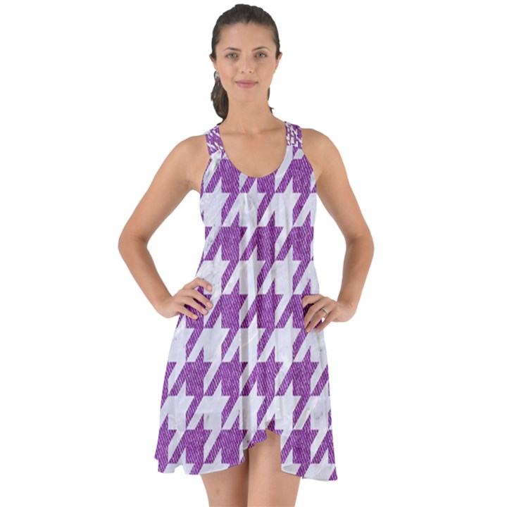 HOUNDSTOOTH1 WHITE MARBLE & PURPLE DENIM Show Some Back Chiffon Dress